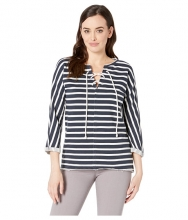 Jag Jeans Debbie Lace-Up Shirt WhiteNavy Stripe