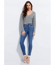 CheapChic Girl With The Pearl-studded Skinny Jeans Blue