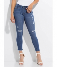CheapChic Perf Distressed Cut-off Skinny Jeans Dkblue