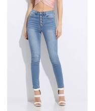 CheapChic Gimme Five Button-fly Skinny Jeans Medblue
