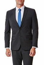 HAGGAR Gabardine 4-Way Stretch Slim Fit 2-Button Suit Separate Coat CHCOAL HTR