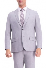 HAGGAR Gabardine 4-Way Stretch Slim Fit 2-Button Suit Separate Coat LT GREY