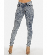 CheapChic High Waist Acid Wash One Button Skinny Jeans Multicolor