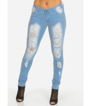 CheapChic Light Blue Low Rise Ripped Skinny Jeans Multicolor