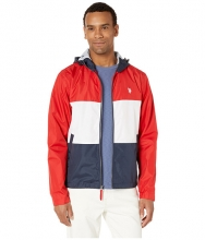US POLO ASSN Tricolor Block Hooded Windbreaker Engine Red