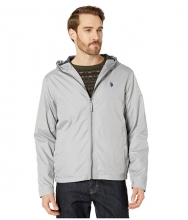 US POLO ASSN Solid Windbreaker w Hood Vapor Gray