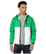 US POLO ASSN Hooded Color-Block Windbreaker Court Green
