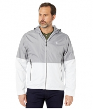 US POLO ASSN Hooded Color Block Windbreaker w Rib Cuff Vapor Gray