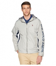 US POLO ASSN Tricolor Hooded Windbreaker Vapor Grey