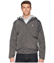 US POLO ASSN Heather Hooded Windbreaker Black Heather