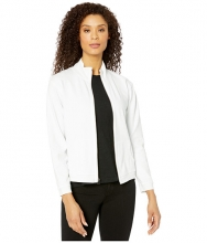 Mod-o-doc Cotton Interlock Zip Front Funnel Neck Jacket White