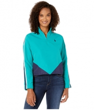 US POLO ASSN Color Block Popover Top Turquoise Rapids