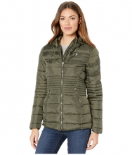 US POLO ASSN Long Basic Smocked Waist Puffer with Hood Olive