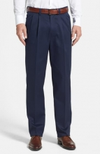 NORDSTROM MEN'S SHOP Classic SmartcareTM Relaxed Fit Double Pleated Cotton Pants NAVY