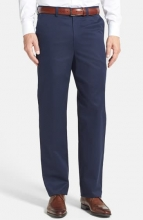 NORDSTROM MEN'S SHOP Classic SmartcareTM Relaxed Fit Flat Front Cotton Pants NAVY
