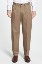 NORDSTROM MEN'S SHOP Classic SmartcareTM Relaxed Fit Double Pleated Cotton Pants TAUPE