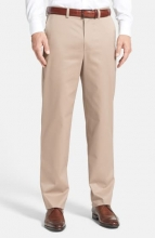 NORDSTROM MEN'S SHOP Classic SmartcareTM Relaxed Fit Flat Front Cotton Pants TAN