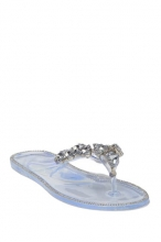 Wild Diva Lounge Joanie Crystal Cluster Thong Sandal CLEAR