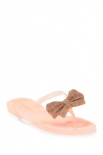 Wild Diva Lounge Joanie Rhinestone Bow Jelly Thong Sandals NUDE